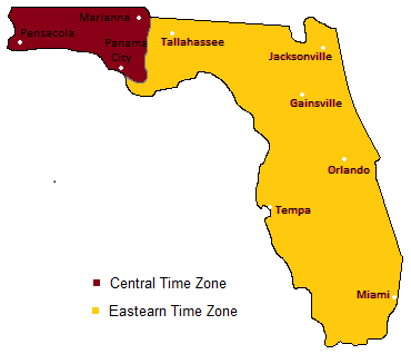 Show Usa Time Zone Map.Florida Time Zones Timebie