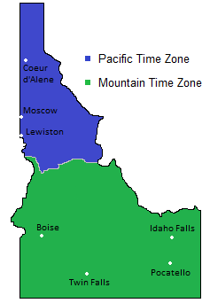 Time Zones Map in Idaho, USA -- Timebie