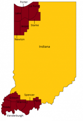 Fort Wayne Time Zone Map.Time Zones Map In Indiana Timebie