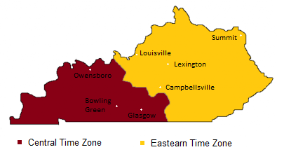 Kentucky Time Zones Map -- Timebie