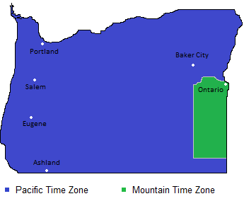 Time Zones Map In Oregon Usa Timebie