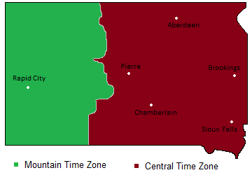 Time Zones Map in South Dakota, USA -- Timebie