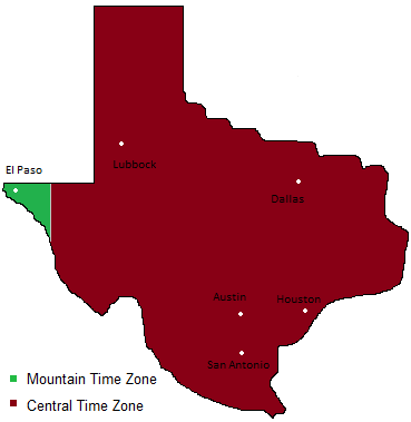 Texas Time Zones Map Timebie - Current time zone map of the us
